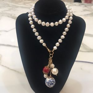 Jewelry - Gorgeous Hand Knotted Pearl Neck. With Drops—NEW!!